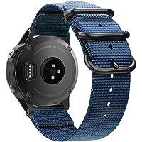 Fintie armband compatibel met Garmin Fenix 5 / Fenix 5 Plus / Instinct / Forerunner 935/945 - nylon horlogeband sportarmband verstelbare reserveband met roestvrijstalen gespen, marineblauw
