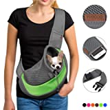 YUDODO Pet Dog Sling Carrier Breathable Mesh Travel Safe Sling Bag Carrier for Dogs Cats (S up to 5lbs Green)