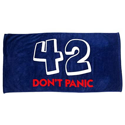 4cd8ab71cdb81 Amazon.com: getDigital Bath Towel 42 Don't Panic - Large Beach Towel for  Douglas Adams Fans - 55 x 28 inch, 100% Cotton, certified with German  Textile ...