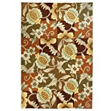 Homefires Tropical Pineapple and Flowers 5-Feet by 7-Feet Indoor Outdoor Hand Hooked Area Rug