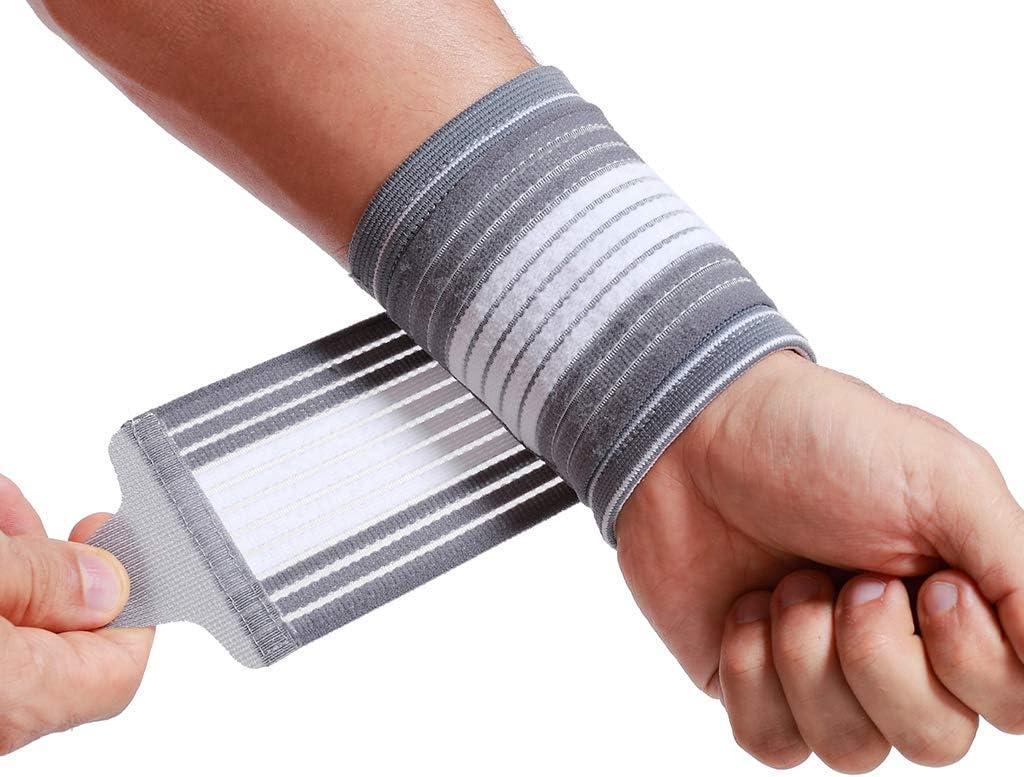 Muñequera ancha de sujeción (1 Par) - Tejido ligero, elástico y transpirable - Para aliviar los músculos - Tira de compresión ajustable - Marca Neotech Care - Gris (Talla L)