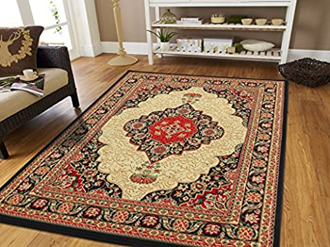 Large Area Rug Oriental Carpet 8x11 Living Room Rugs 8x10 Rugs Clearance Bedroom Rugs Traditional Flower Medallion Area (Flower Living Room Rug)