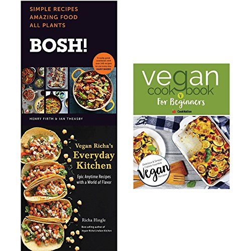 Bosh vegan cookbook [hardcover], vegan richa's everyday kitchen and vegan cookbook for beginners 3 books collection set