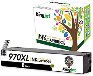 Kingjet Compatible Ink Cartridge Replacement for 970XL Work with Officejet Pro X576dw X451dn X451dw X476dw X476dn X551dw Printers, 1 Pack(Black)