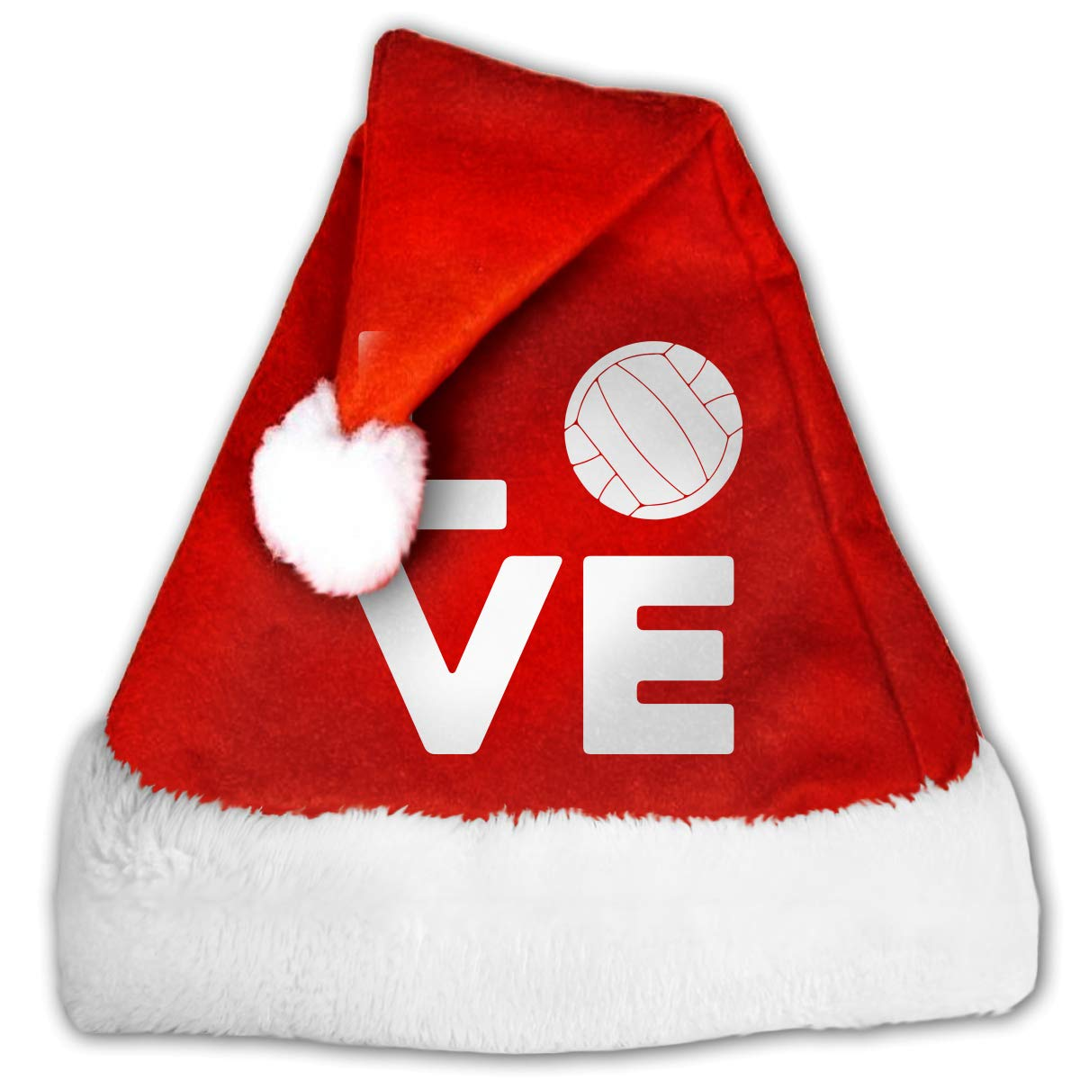 eda471a22 Amazon.com: Love Volleyball Christmas Hat, Red&White Xmas Santa Claus' Cap  for Holiday Party Hat: Clothing