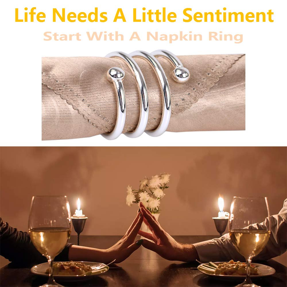 Wedding 8Pcs Candlelight Dinner or Table Decorations Round Silver Metal Spring Napkin Rings for Party PASNOWFU Wedding Birthday Commemoration Silver Napkin Rings
