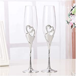 2 PCS/Set Heart-shaped Red Wine Glass High Foot Crystal Glass Gold Silver Double Cup Lovers Cup Birthday Gift Wedding Decoratio, Champagne Flutes (Color : 2 PCS Set) (Color : 2 Pcs Set)
