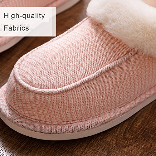 Plush Slip and Men Anti Grey and Sole Indoor Women Bootie House Slippers Lining For Pinstripe Knit Outdoor Furry Moodeng With Ixqp0Xww