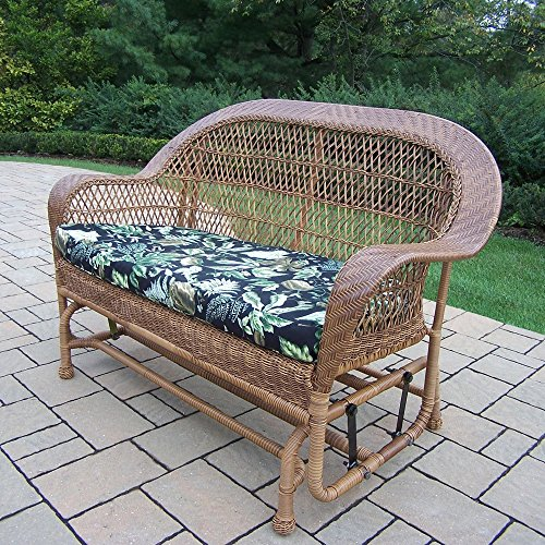 Catalina Outdoor Sofa (Oakland Living Corporation Catalina Tan Resin Wicker/Aluminum Glider with Black Floral Cushion)