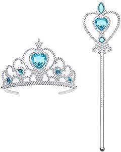 Vicloon 2pcs Princesa Vestir Accesorios Regalo Conjunto con Corona/Sceptre para Niña,3-10 Años