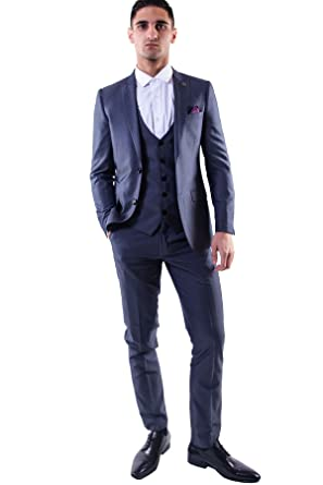 7ec67a9069d Marc Darcy Mens 3 Piece Slim Fit Grey Pindot Notch Lapel Casual Business  Wedding Suit Formal Blazer Waistcoat and Trousers 34-52 Available - 34R  ...
