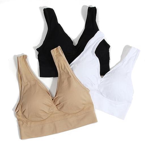 73805bc79f0 None Sports Women Bra Padded 3pcs Workout Fitness Sleeping Bra (Black White  Skin