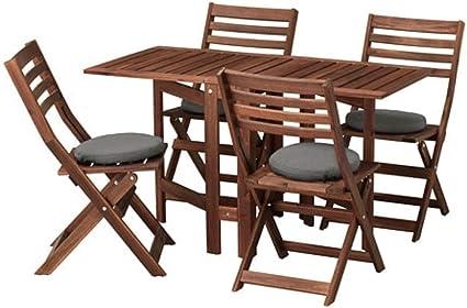 Ikea Applaro Tavolo E 4 Sedie Pieghevole Outdoor Marrone Colorato Froson Duvholmen Grigio Scuro 992 685 80 Amazon It Casa E Cucina