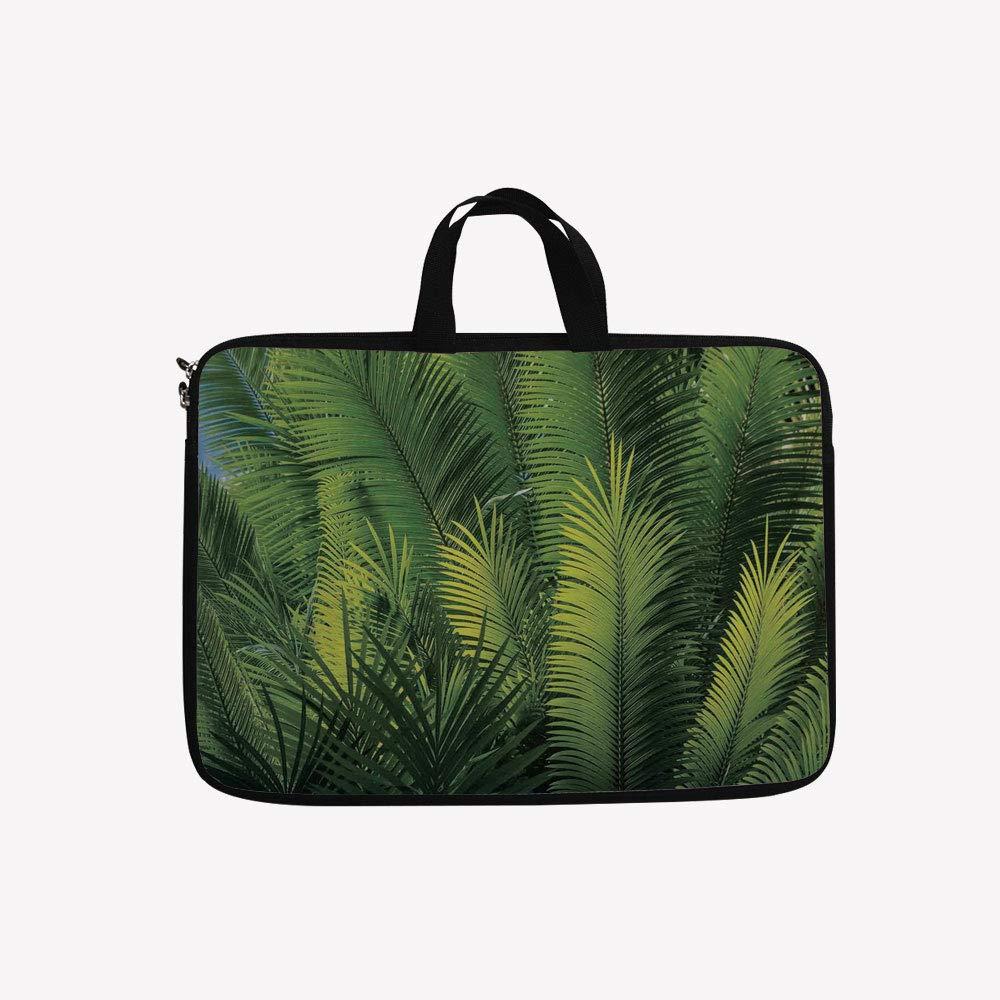 3Dプリントダブルジッパーラップトップバッグ、エキゾチックな植物とダークテーマの葉、リラックス、14インチキャンバス防水ラップトップショルダーバッグ、14インチ/14.1インチラップトップと互換性あり 14 inch(14.3
