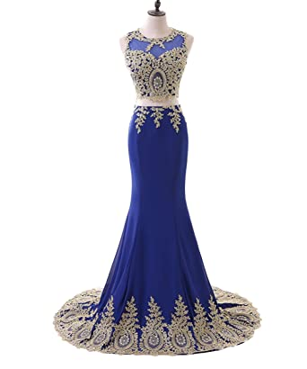 Lisa Gold Lace Mermaid Evening Gown Two Piece Prom Dress LS006 at ...