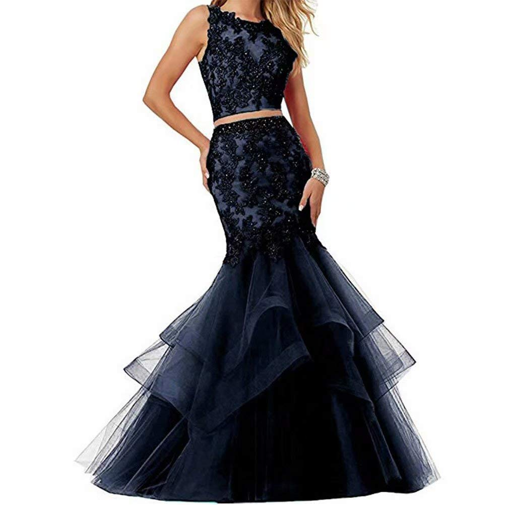 Navy Unions Women's Two Pieces Mermaid Tulle Applique Prom Party Dresses Long Formal Evening Gown
