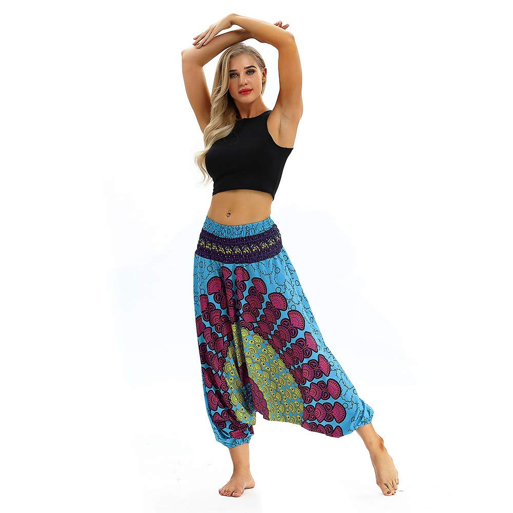 YANG-YI Women Men Loose Yoga Pants Baggy Bohemia Trousers Sweatpants Jumpsuit Exotic Harem