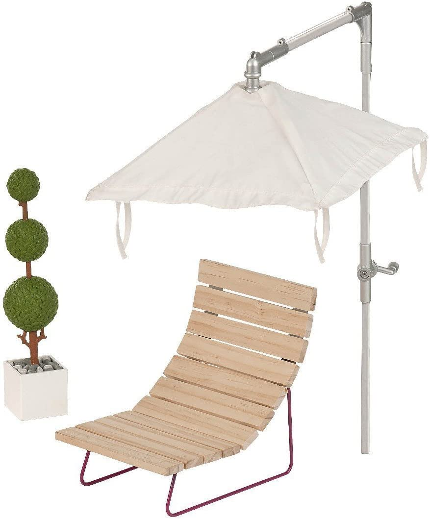 Our Generation Dollhouse Furniture - Patio Lounger and Umbrella Set