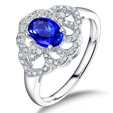 afc54f3e6 Solid 18k White Gold Diamond Wedding Tanzanite Rings For Women Girl  Birthday Gift (M 1
