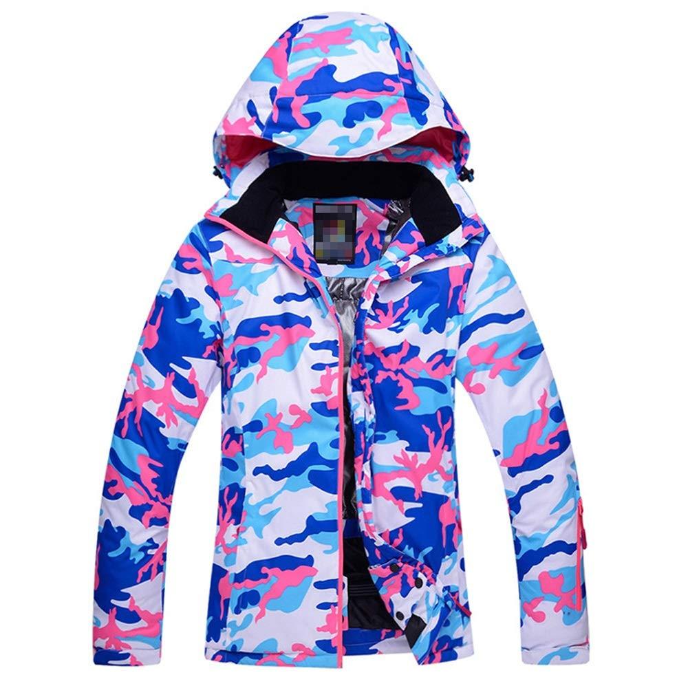 bleu Camouflage petit Combinaison de Ski Chaude Manteau d'hiver Veste extérieure avec Capuche Amovible, Poches de RangeHommest Veste Chaude Coupe-Vent et Coupe-Froid (Couleur   bleu Camouflage, Taille   S)