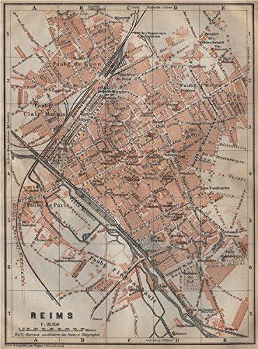 Amazon Com Reims Antique Town City Plan De La Ville Marne Carte Baedeker 1909 Old Map Antique Map Vintage Map Marne Map S Posters Prints