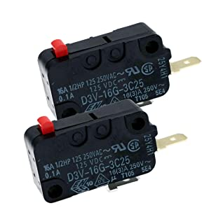 Snap Micro Switch D3V-16G-1C25 D3V-16G-3C25 Microwave Oven Normally Open for Frigidaire 5304440026 Microwave (Pack of 2)