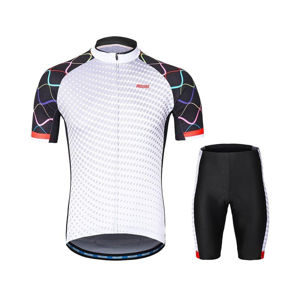 Lixada ARSUXEOメンズサイクリングウェアセット半袖セット速乾性シャツ3dクッションパッド入りショートパンツ   B07F14PSBV