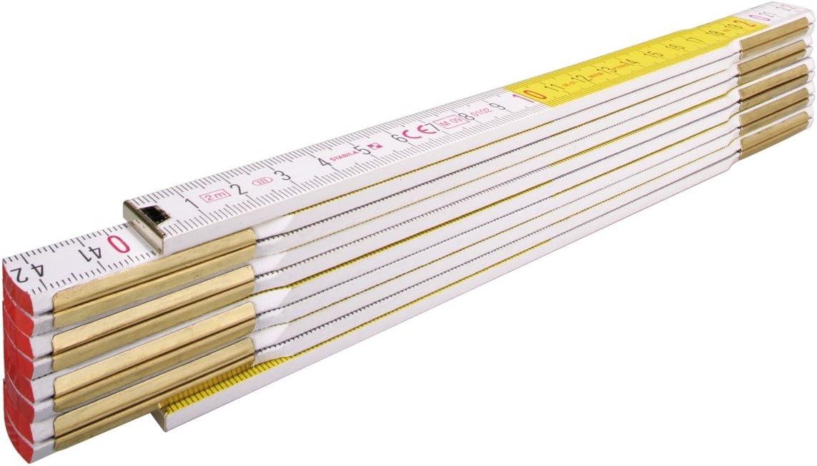 metrische Skala wei/ß 2 m mit Winkeleinteilung STABILA Holz-Gliederma/ßstab Type 1607 W