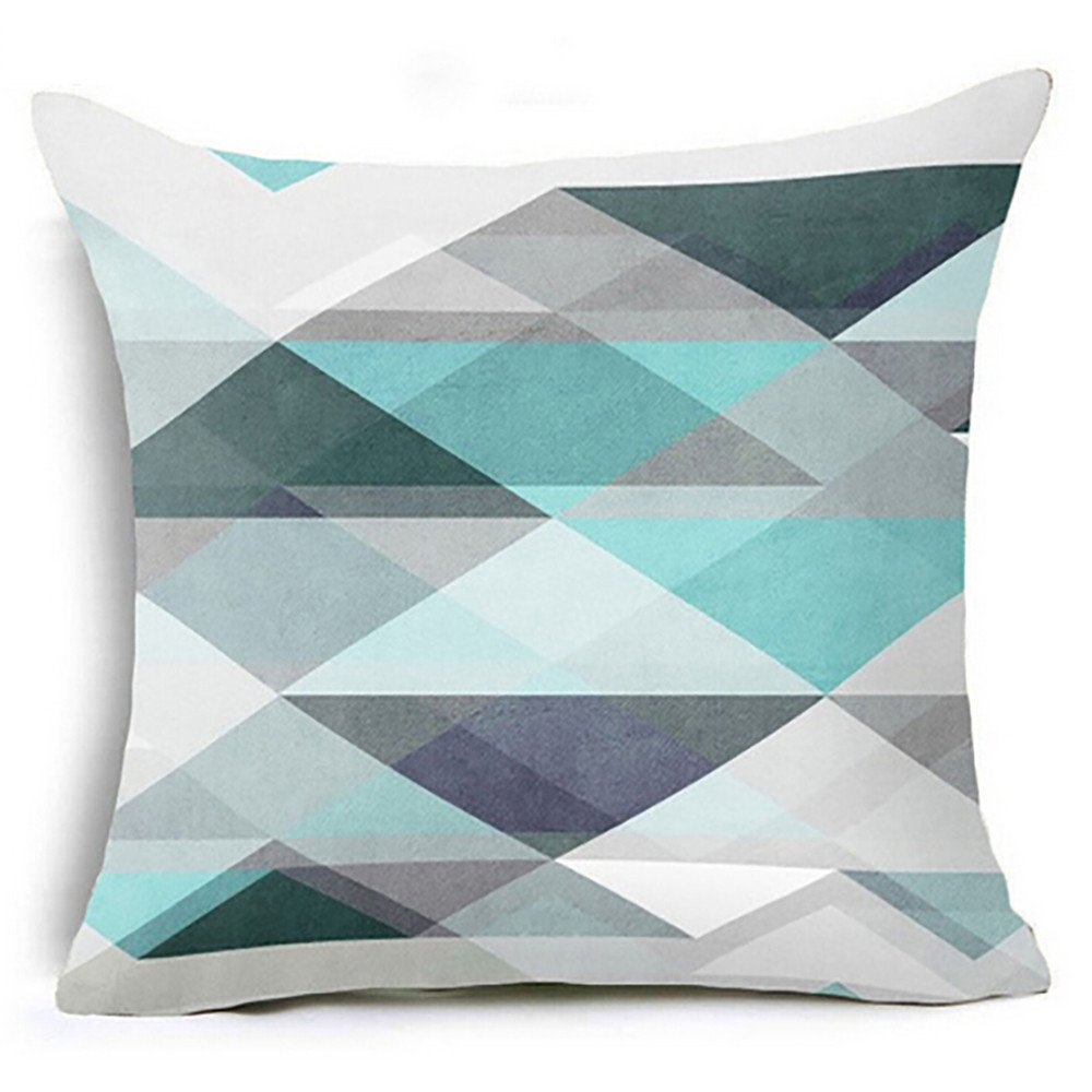 Chenway Geometric Printed Throw Pillow Case,Zipper Waist Cushion Decoration CaseCover for Sofa Livingroom Home Decor (D)