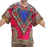 RaanPahMuang Unisex Bright Africa Heart Dashiki Cotton Plus Size Shirt, XXXX-Large, Pink