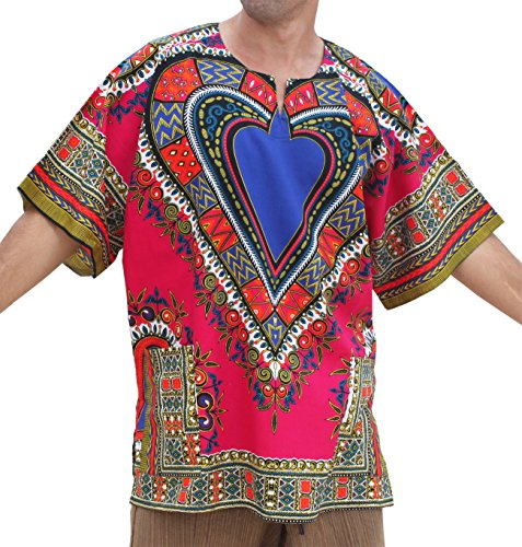 RaanPahMuang Unisex Bright Africa Heart Dashiki Cotton Plus Size Shirt, XXXXXX-Large, Pink