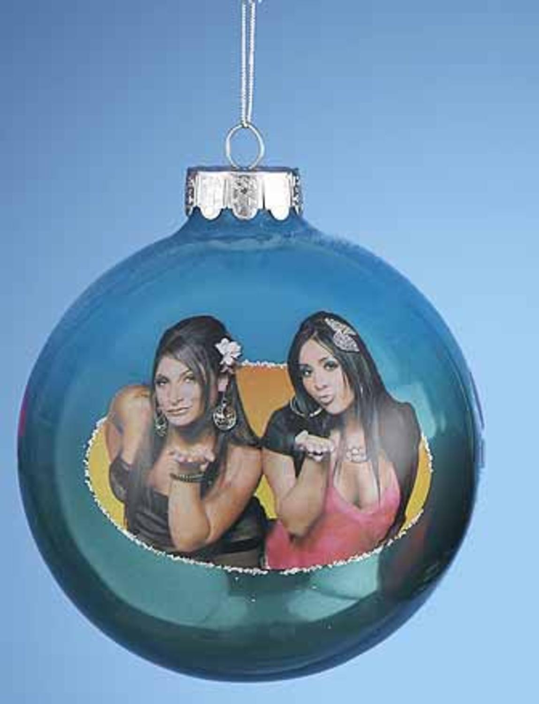 Kurt Adler Blue Jersey Shore Snooki and Deena Glass Ball Christmas Ornament 4'' (100mm)