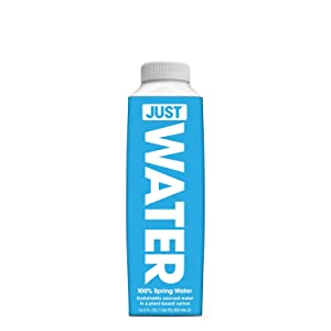JUST Water, Premium Pure Still Spring Water in an Eco-Friendly BPA Free Plant-Based Bottle | Naturally Alkaline, High 8.0 pH | Fully Recyclable Boxed Water Carton, 16.9 Ounces (Pack of 12)