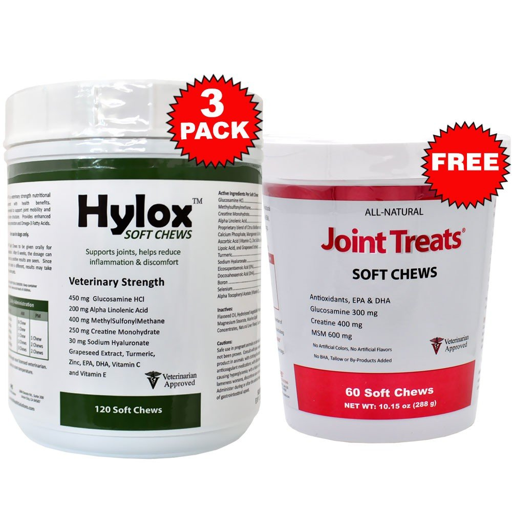 3PACK Hylox Soft Chews (360 Chews) + FREE Joint Treats