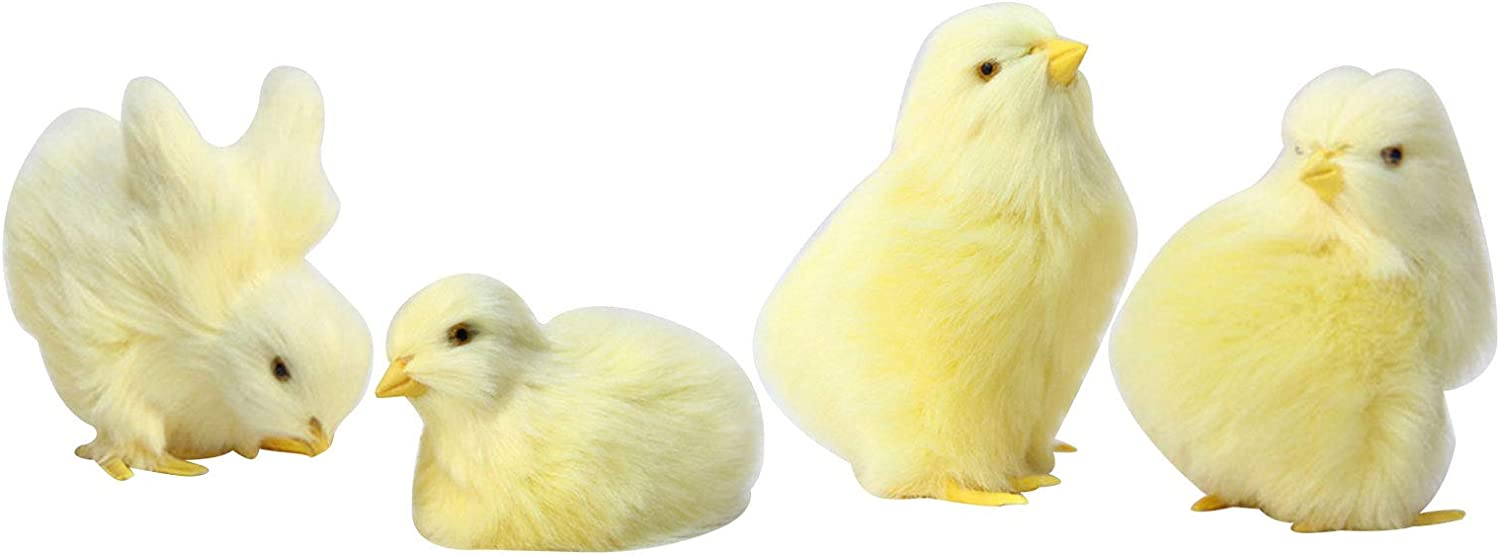 Nutteri Mini Realistic Furry Chick 4pcs Spring Easter Lifelike Eat Fly Yellow Baby Chicken Simulation Decoration Fur Plush Animal Home Ornament Photography Prop (Yellow)