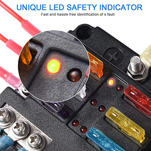 12-Way Fuse Box Blade Fuse Block Holder Screw Nut Terminal W//Negative Bus 5A 10A 15A 20A Free Fuses LED Indicator Waterpoof Cover for Automotive Car Marine Boat