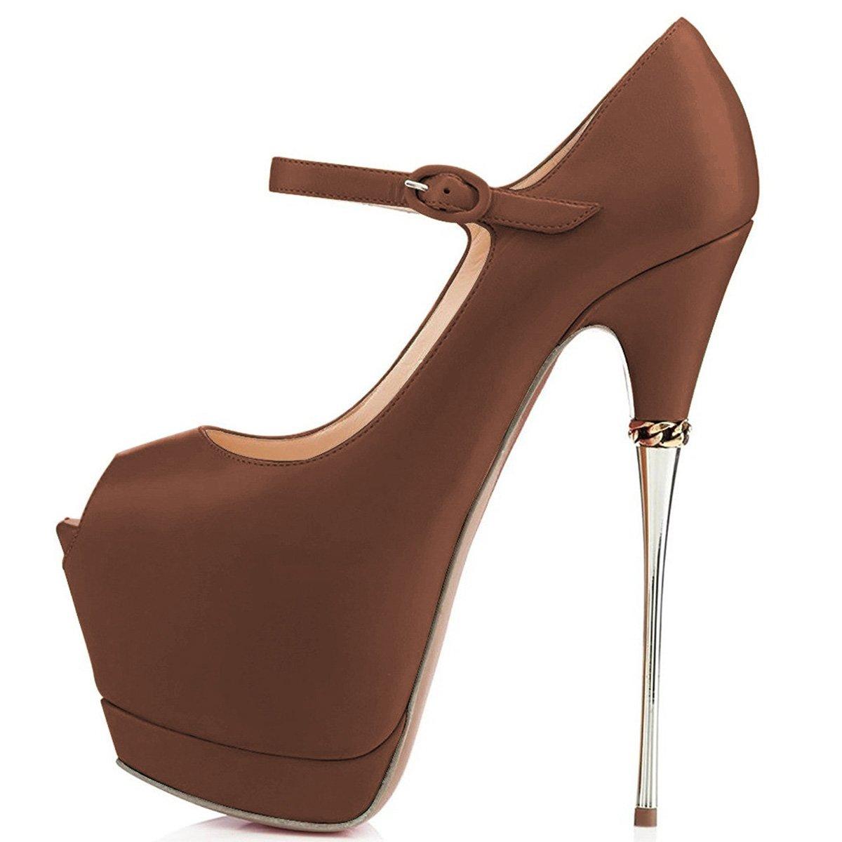 YDN Women Peep Toe Sky High Heels Platform Pumps Ankle Straps Shoes Metal Stilettos B07B7JKZB9 10 M US|Brown-pu