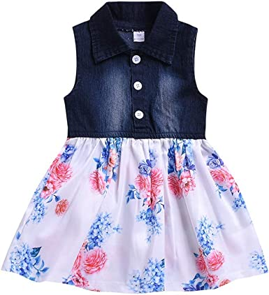 Kids Girls Dress Ruffles Lace Princess Party Denim Bow Tutu Dresses Willsa Baby Girl Clothes