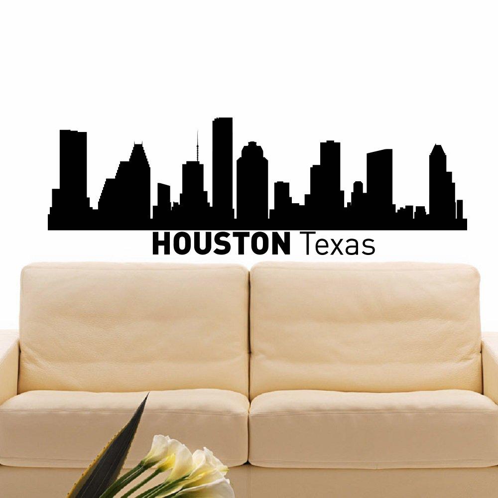 Amazon com wall decal vinyl sticker houston texas skyline city silhouette decor sb64 home kitchen