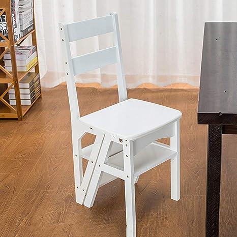 YZYDZ Sillas Muebles Modernos Escalera Plegable de Madera Plegable Biblioteca Escaleras Escalera Cocina Oficina Uso,Blanco: Amazon.es: Deportes y aire libre