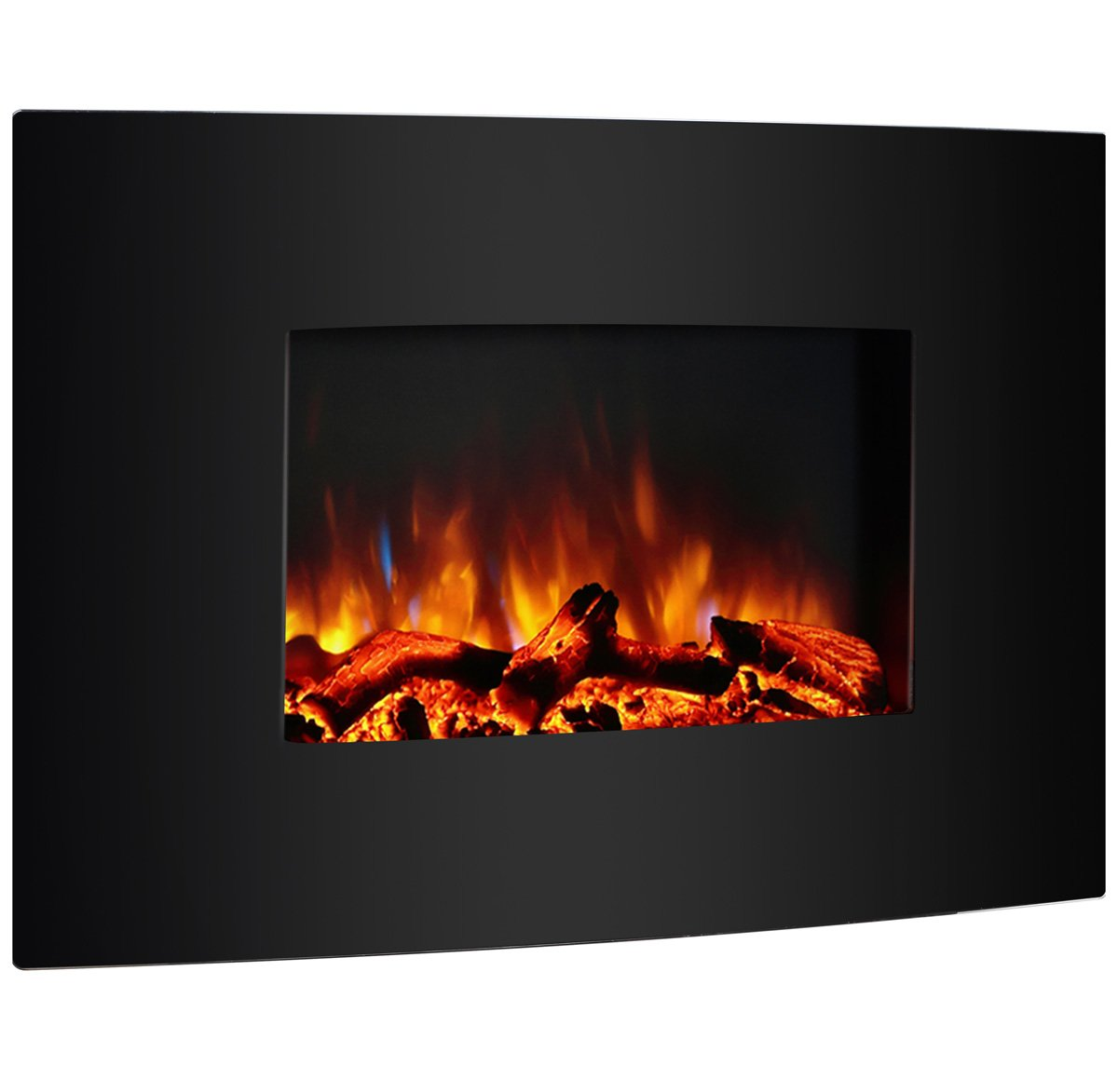 PuraFlame 36'' Vivian Wall Mounted Curved Panel Electric Fireplace with Remote Control, 1500W, Black