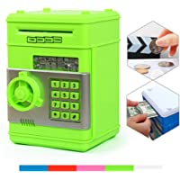 Money Banks, Netspower Security Piggy bank Digital Electronic Money Bank for Kids, Mini ATM Coin Saving Banks,Coin Saving Boxes,Toys Gifts Birthday Gifts for Kids - Green
