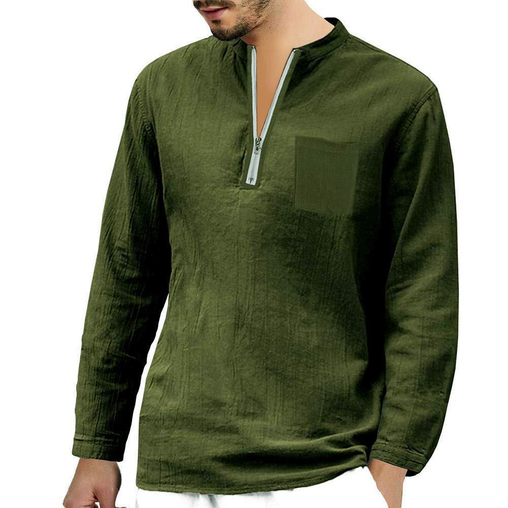 Amazon.com: Mens T Shirts, Easytoy Men Shirts Top Blouse Zipper/Button Henley V Neck Linen Retro Yoga Shirts (Army Green(Zipper), Asian Size:S): Health ...