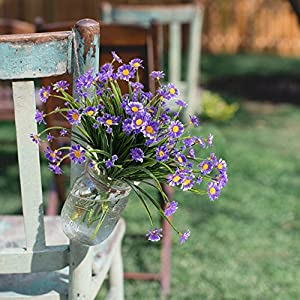 NAHUAA Artificial Plants, 4PCS Fake Daisy Flowers Greenery Bush Faux Plastic Wheat Grass Shrubs Table Centerpieces Arrangements Home Kitchen Office Indoor Outdoor Spring Decorations Purple 3