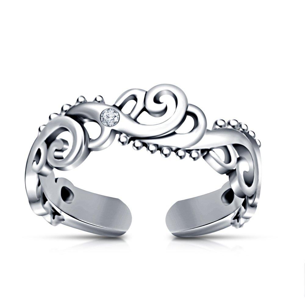 Zehenring Fußschmuck Damen Herren verstellbar Sterling Silber Modell 14