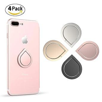 ORYCOOL 4 Stück 360° drehbarer Ring Halter Handy Finger Halter Finger Halterung Kickstand Metall für iPhone?Samsung?Pad