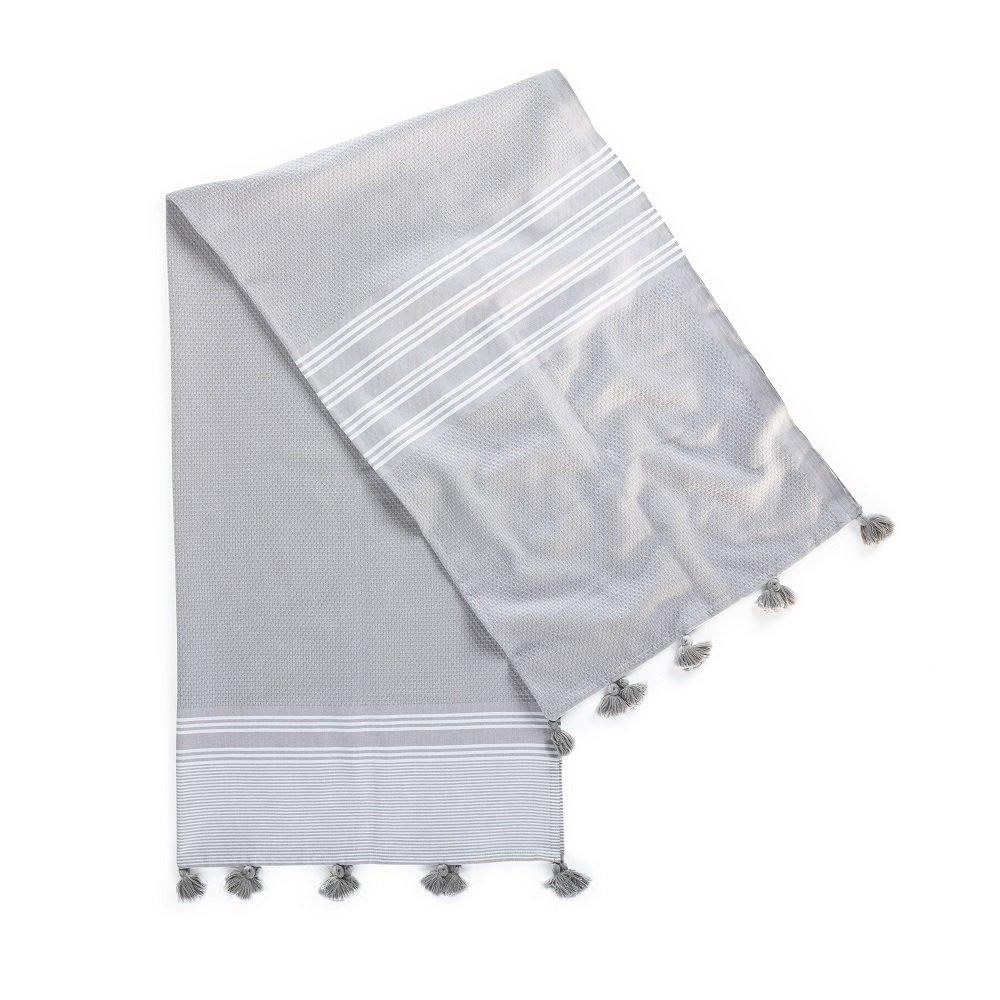Kuprum Striped Peshtemal Beach Bath Towel, Turkish Cotton Pestemal Fouta Hammam Towel with Tassels Pom Poms Compact Thin Light Absorbent Quick Dry for Travel Spa Sauna Camping Yoga(Light Gray 39''x71'')