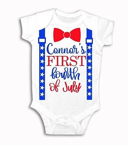 d76f71617 Amazon.com: My 1st 4th of July Baby Boy 1st Fourth of July Outfit  Personalized 4th of July Outfit Baby Boy Clothes Baby Boy Suspender Outfit:  Handmade
