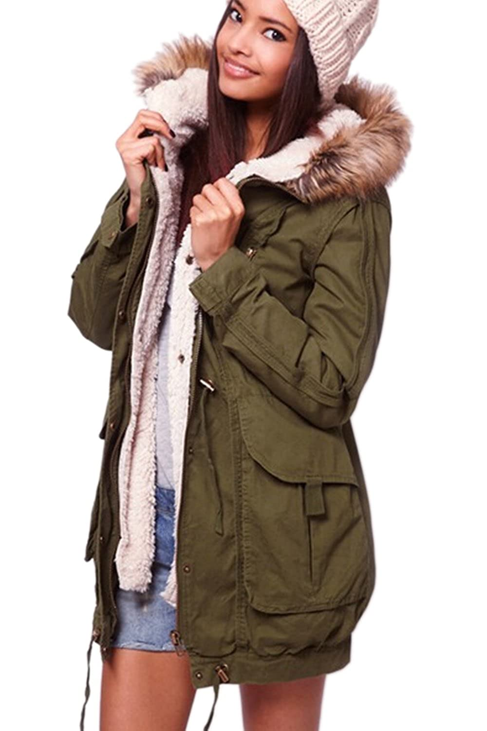 YACUN Women's Casual Warm Parkas with Faux Fur Hood