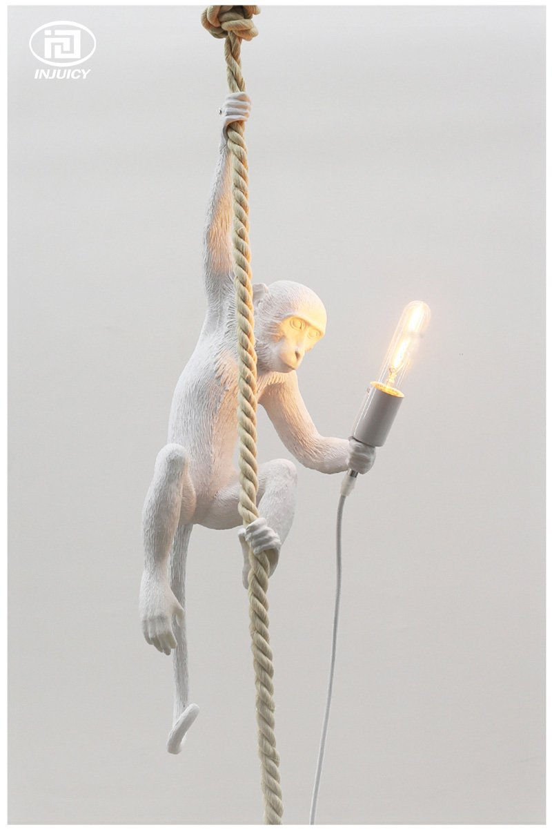 Injuicy Lighting Loft Vintage Resin Hemp Rope Monkey Pendant Lights Fixture Industrial Retro E27 Edison Ceiling Pendant Lamp Single Light for Dining Living Room Children's Bedroom Bar Cafe Gift by IJ INJUICY (Image #1)